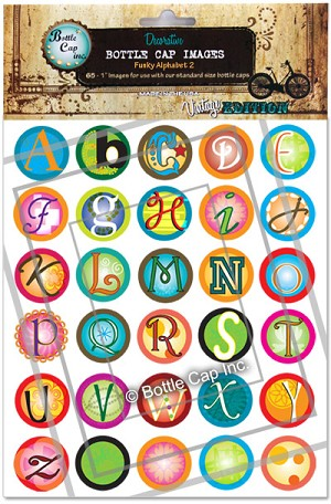 Funky Alphabet 2 Bottle Cap Images - Printed