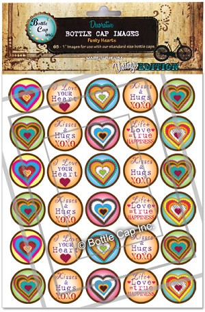 Funky Hearts Bottle Cap Images - Printed