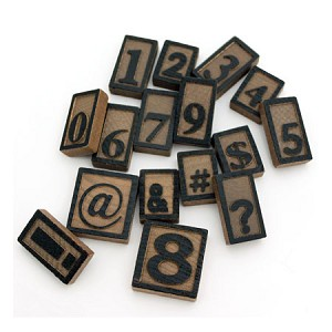 Wooden Letter Press -16 Number and Symbol Set