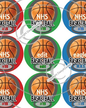Basketball-1 Inch Editable Bottle Cap Images