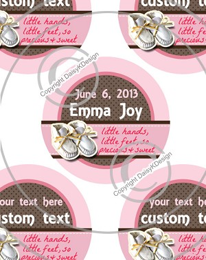 Booties Pink -1 Inch Editable Bottle Cap Images
