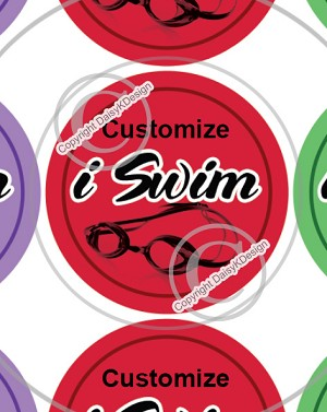 i Swim -1 Inch Editable Bottle Cap Images