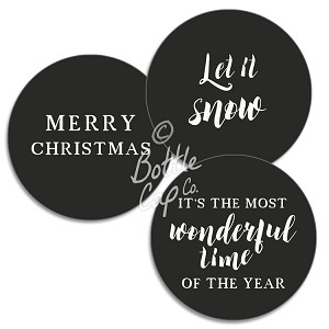 "1.75"" Bottle Cap Images-Jumbo Christmas Sayings White on Black"