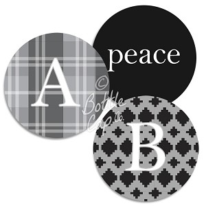 "1.75"" Bottle Cap Images-Jumbo Traditional Monograms on Patterns"