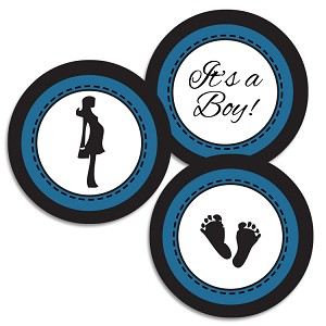 "1.75"" Bottle Cap Images Jumbo-Baby Boy Shower Navy"