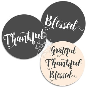 "1.75"" Bottle Cap Images-Jumbo Thankful Grateful Blessed Black and White"