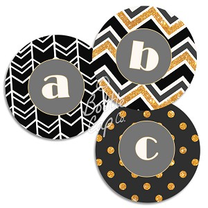 "1.75"" Bottle Cap Images-Jumbo Sparkly Gold and Black Monograms"