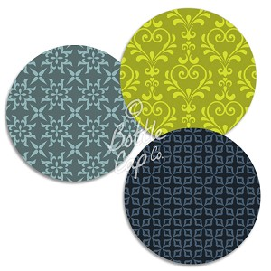 "1.75"" Bottle Cap Images-Jumbo Patterns Lime and Blue"