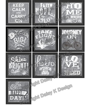 Alphabet Tile Images -Chalk Word Art