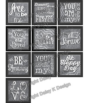 Alphabet Tile Images -Chalk Word Art 2