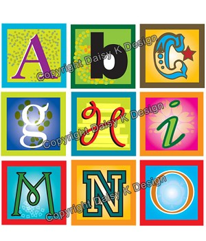 Alphabet Tile Images -Funky Alphabet 2