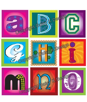 Alphabet Tile Images -Funky Alphabet 3