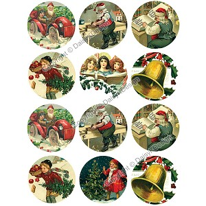 "1"" Bottle Cap Images -Vintage Christmas 1"