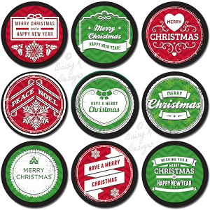 "1"" Bottle Cap Images -Bright Christmas"