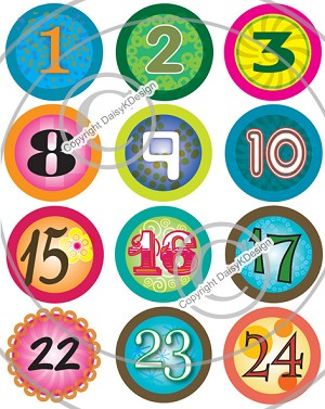 Bottle Cap Images -Calendar Numbers Funky