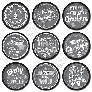 "1"" Bottle Cap Images -Chalk Art Christmas Sayings"