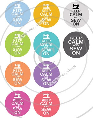Bottle Cap Images -Keep Calm & Sew On