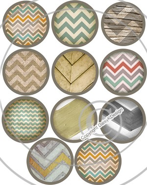 Bottle Cap Images -Rustic Chevron Patterns