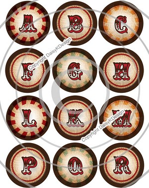 Bottle Cap Images -Vintage Circus Alphabet