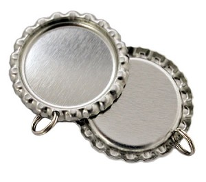 Chrome Bottle Cap Pendants - Flattened