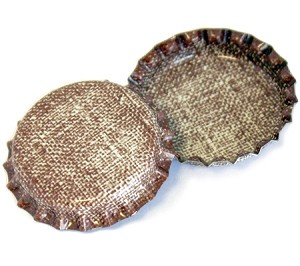 Two Sided Burlap Bottle Caps Standard