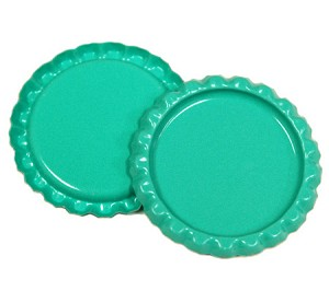 Two Sided Aqua Green Flattened Bottle Caps