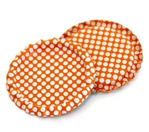 Two Sided Tangerine - White Polka Dots Bottle Caps Flattened