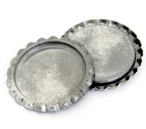 Two Sided Silver Patina Bottle Caps Flattened