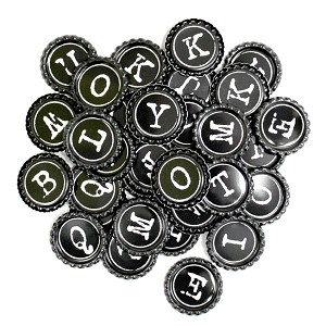 Two Sided Typewriter Alphabet- Random Bottle Caps Flattened