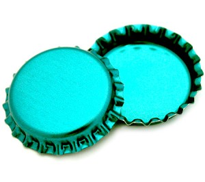 Two Sided Metallic Turquoise Bottle Caps Standard