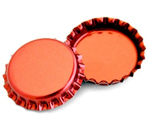 Two Sided Metallic Red Bottle Caps Standard