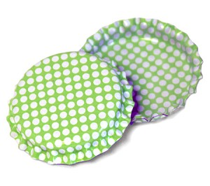 Two Sided Lime Green - White Polka Dots Bottle Caps Standard