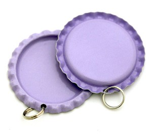 Two Sided Purple Bottle Cap Pendants - Flattened