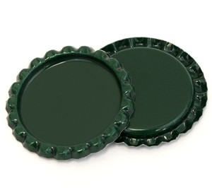 Two Sided Green Bottle Caps Flattened