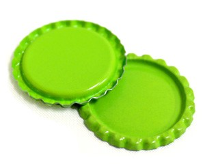 Two Sided Lime Green Flattened Bottle Caps