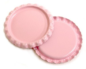 Two Sided Pink Flattened Bottle Caps