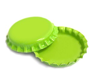 Two Sided Lime Green Bottle Caps Standard