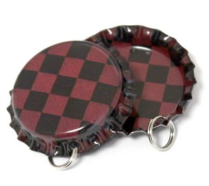 Two Sided Antique Red Checkers Bottle Cap Pendants - Standard