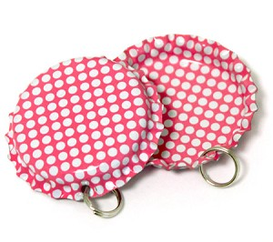 Two Sided Hot Pink - White Polka Dots Bottle Cap Pendants - Standard