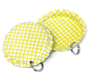 Two Sided Bright Yellow - White Polka Dots Bottle Cap Pendants - Standard