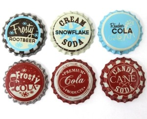 Vintage Inspired Bottle Caps -Christmas Mix
